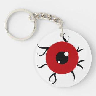Globo del ojo rojo y negro retro llavero redondo acrílico a doble cara