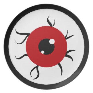 Globo del ojo rojo y negro retro platos de comidas