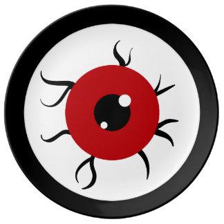 Globo del ojo rojo y negro retro plato de cerámica