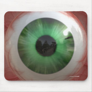 Globo del ojo verde espeluznante de la diversión - tapete de ratón