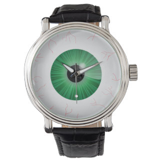 Globo del ojo verde inyectado en sangre relojes de mano