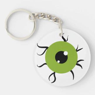 Globo del ojo verde y negro retro llavero redondo acrílico a doble cara