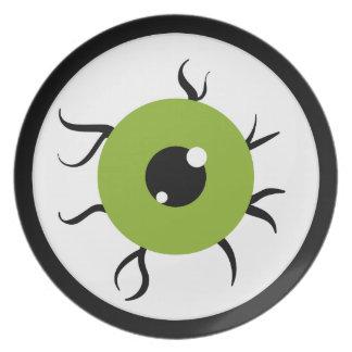 Globo del ojo verde y negro retro platos de comidas