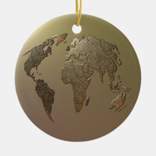 Globo del oro adorno navideño redondo de cerámica