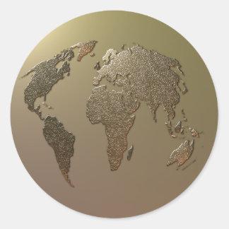 Globo del oro pegatina redonda