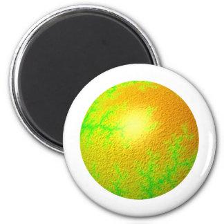 Globo del oro verde del fractal imán redondo 5 cm