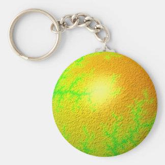 Globo del oro verde del fractal llavero redondo tipo pin