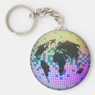 Globo del pixel llavero redondo tipo pin