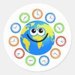 Globo del reloj pegatinas redondas