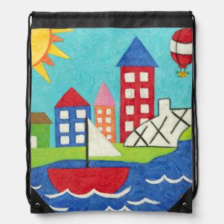Globo del velero y del aire caliente con paisaje mochilas