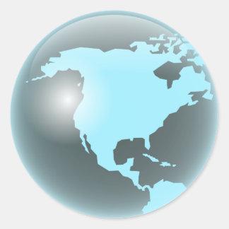 Globo del vidrio de Norteamérica Pegatina Redonda