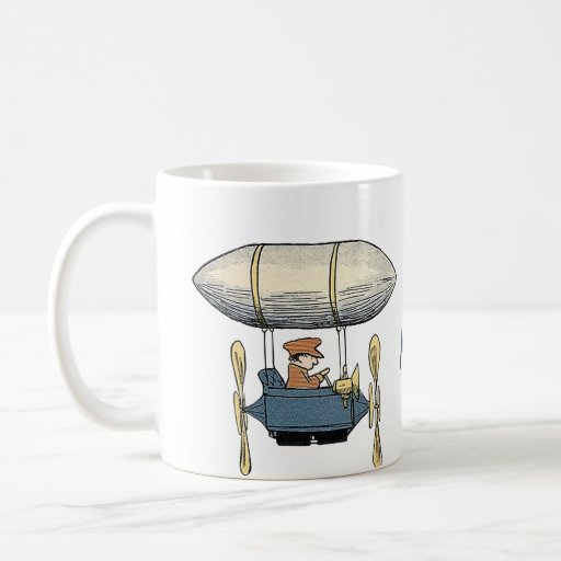 Globo del vuelo del vintage y coche de motor del p taza de café