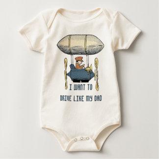 Globo del vuelo del vintage y coche de motor del traje de bebé