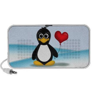 Globo lindo del corazón del pingüino - altavoz del