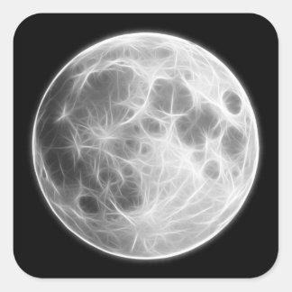 Globo lunar del planeta de la Luna Llena Pegatina Cuadrada