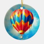 Globo multicolor del aire caliente adorno navideño redondo de cerámica