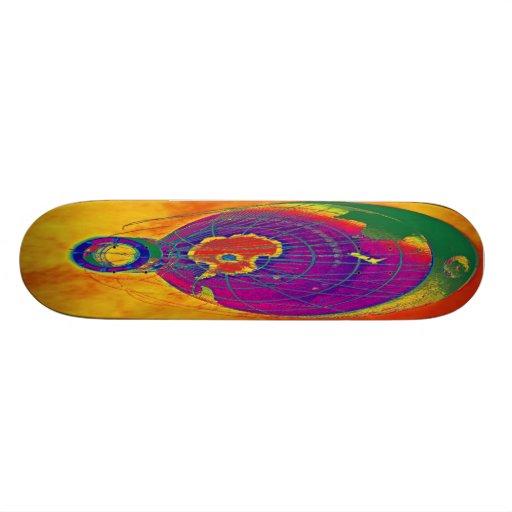 Globo multicolor del globo del mundo, cielo anaran tabla de patinar