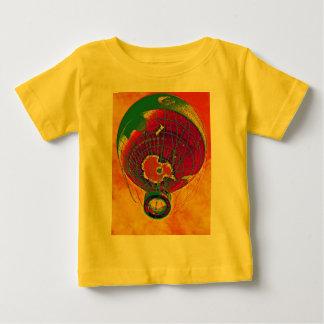 Globo multicolor del globo del mundo, cielo playera de bebé