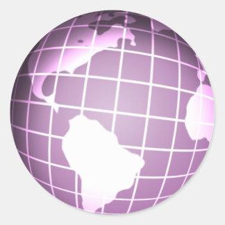 Globo púrpura pegatina redonda