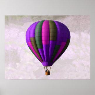 Globo púrpura y rosado del aire caliente póster