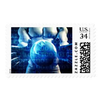 Globo que se sostiene ejecutivo del hombre de timbres postales