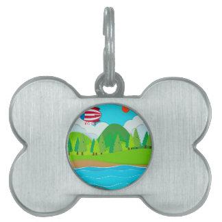 Globo que vuela sobre el río placas mascota