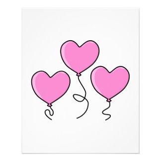 """Globo rosado del corazón con el esquema negro folleto 4.5"""" x 5.6"""""""