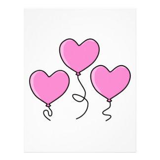"""Globo rosado del corazón con el esquema negro folleto 8.5"""" x 11"""""""