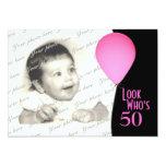 Globo rosado del cumpleaños con la foto anuncios