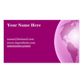 Globo rosado del mundo, su nombre aquí, tarjetas de visita