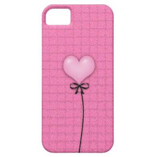 Globo rosado femenino del corazón iPhone 5 Case-Mate protectores