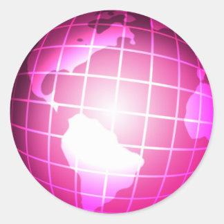 Globo rosado pegatina redonda