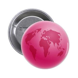 Globo rosado pin redondo de 2 pulgadas