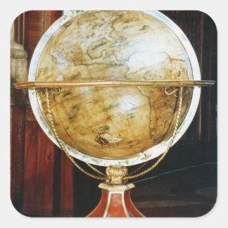 Globo terrestre, 1688 calcomania cuadrada personalizada