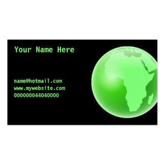 Globo verde de África, su nombre aquí, Tarjetas De Visita