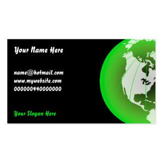 Globo verde de América, su nombre aquí, Tarjetas De Visita