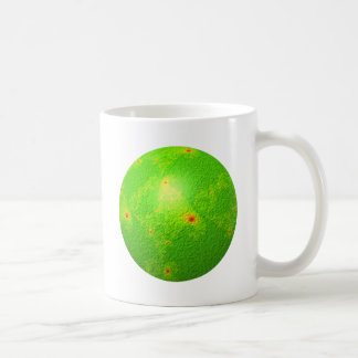 Globo verde del fractal taza de café