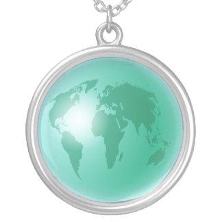 Globo verde del mundo grimpola personalizada