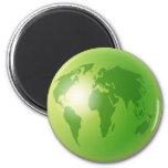 Globo verde del mundo imanes de nevera