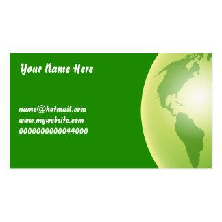 Globo verde del mundo, su nombre aquí, tarjetas de visita