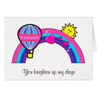 Globo y arco iris de la nieta del feliz cumpleaños tarjeta de felicitación