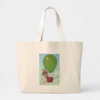 Globo y señora verdes del huevo en vintage de la g bolsa tela grande
