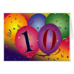 ¡globos 10 años del cumpleaños! tarjeton