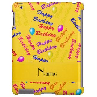 Globos amarillos conocidos del feliz cumpleaños funda para iPad