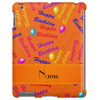 Globos anaranjados conocidos del feliz cumpleaños funda para iPad