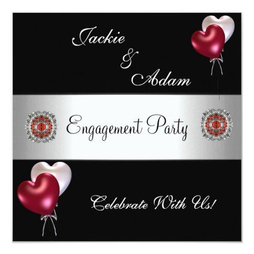 Globos blancos rojos del negro del fiesta de invitación 13,3 cm x 13,3cm