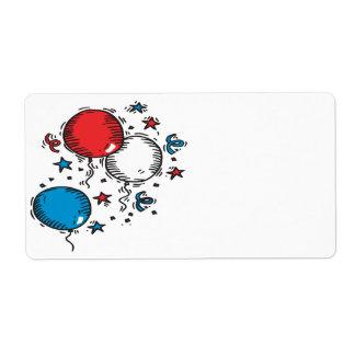 Globos blancos y azules rojos etiqueta de envío