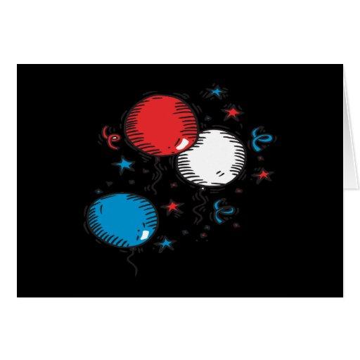 Globos blancos y azules rojos tarjeta de felicitación