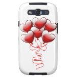 Globos brillantes brillantes del corazón del amor samsung galaxy s3 cárcasas