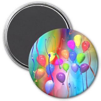Globos brillantes del cumpleaños imanes de nevera